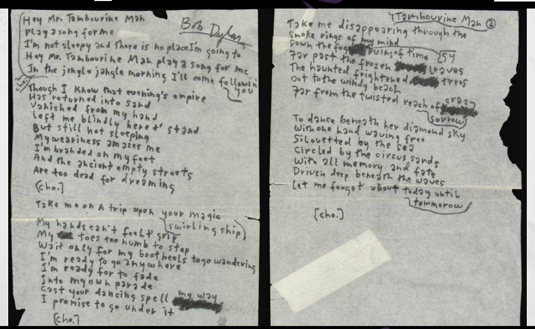 Ten Original Handwritten Lyrics To Some Of Rock 'N' Roll's Greatest Songs