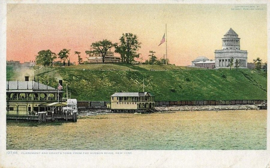 postcard Riverside Drive from the Hudson River showing from l-r A recreation pier the Claremont Inn and Grant's Tomb