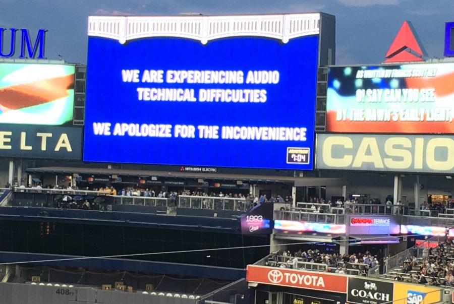 9 14 17 Yankee Stadium audio difficulties sign