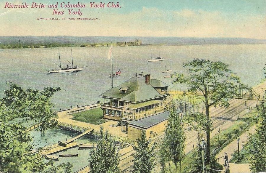 postcard Riverside Drive 86th Street Columbia Yacht Club