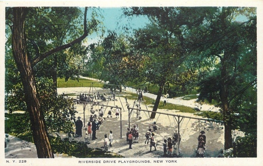 postcard view Playgrounds Riverside Park