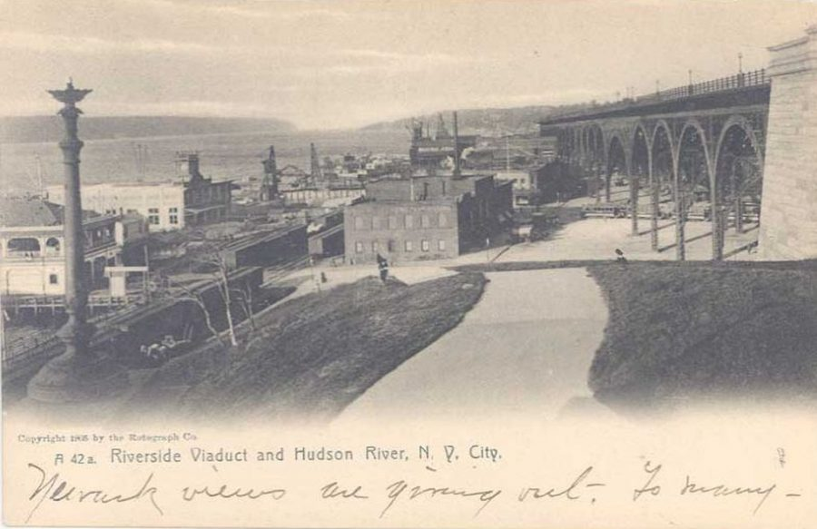 postcard Riverside Drive and viaduct along the Hudson River from 125th Street