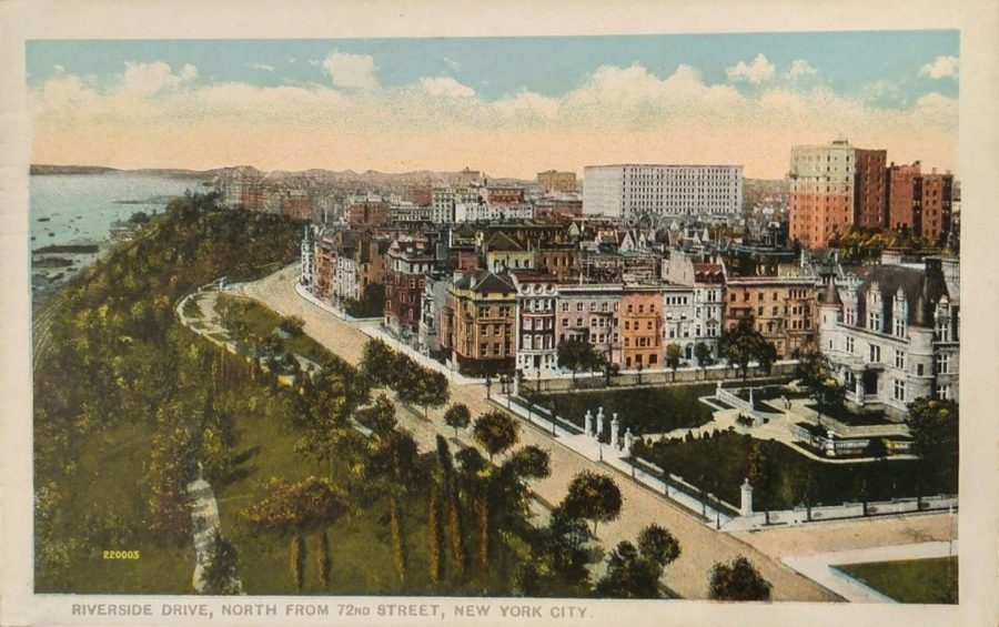 postcard view Riverside Drive north from 72nd Street 1918