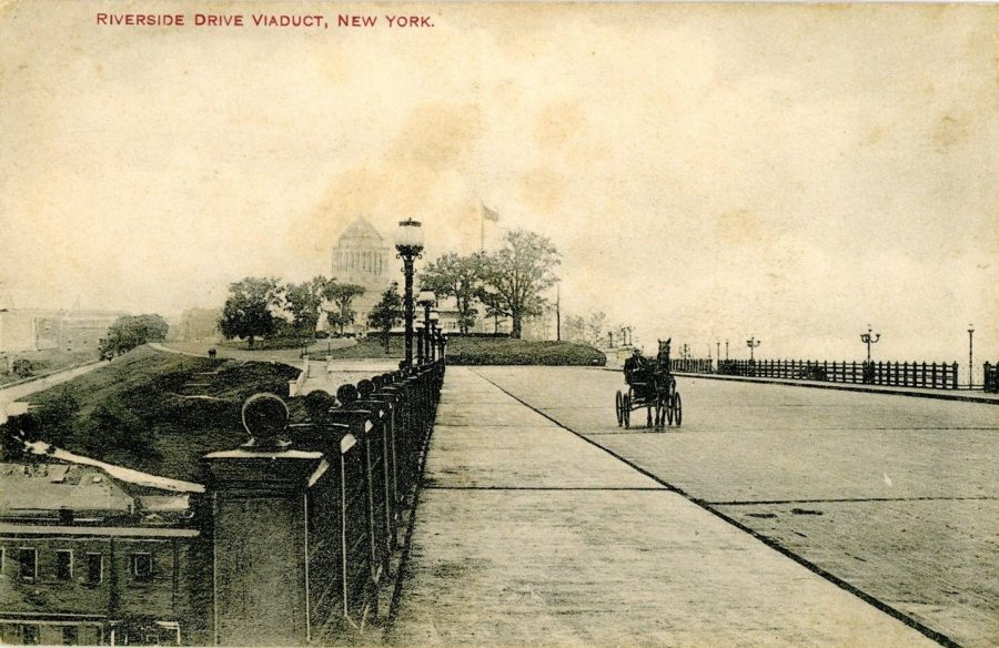 postcard Riverside Drive viaduct showing Grant's Tomb in the distance