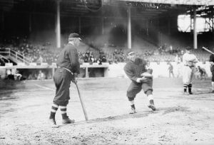 Giants manager John McGraw (l) and catcher Chief Myers (r) at Polo Grounds before 1911 World Series.