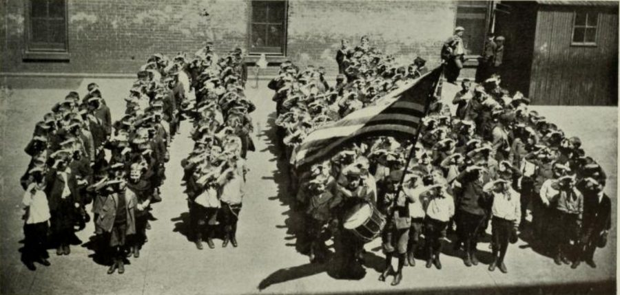 "New York City schools in September 1902, ""Saluting The Flag"" photo: Florence Maynard"