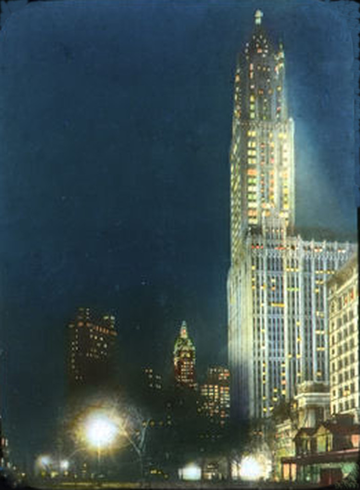 The Woolworth Building & Singer Building At Night In Color - 1914