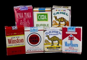 Vintage packs of bubble gum cigarettes