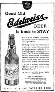 newspaper ad edelweiss beer 1933