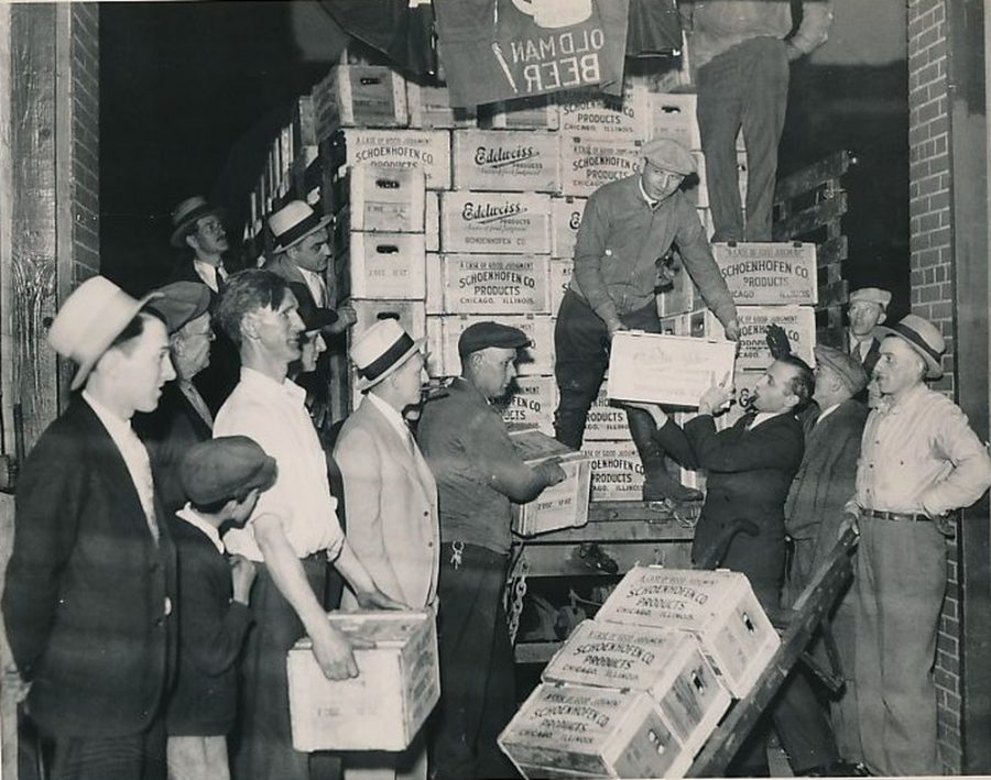 Spring 1933 cases of beer bottles after 1933 repeal of prohibition photo Milton Brooks Detroit News
