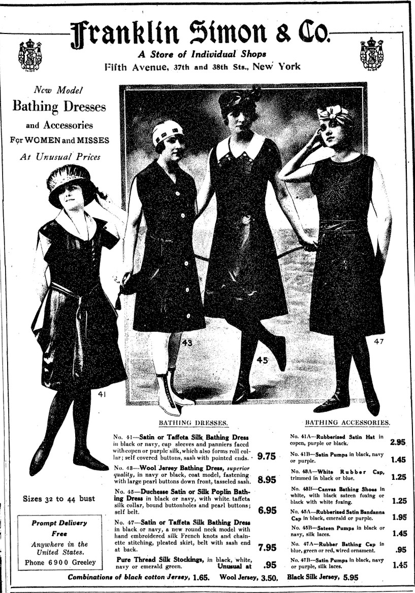 New Women S Bathing Suits Accessories In 1918 From Franklin Simon
