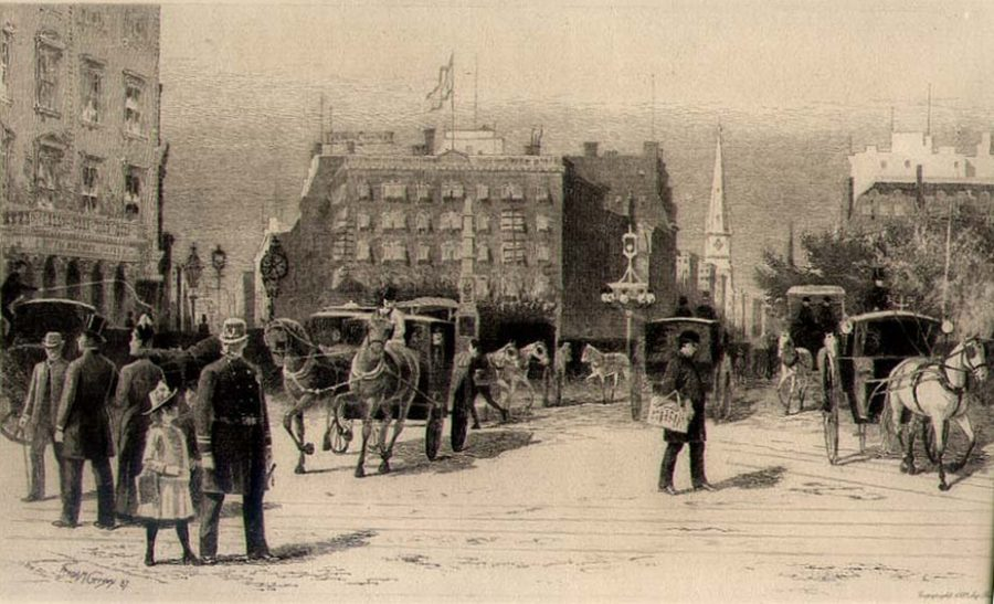 etching Madison Square 1887 artist Frank M Gregory
