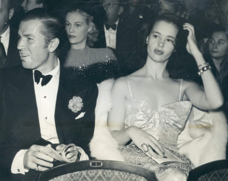 Bruce Cabot and Gloria Vanderbilt attend a theater in Hollywood November 29, 1941 photo Acme