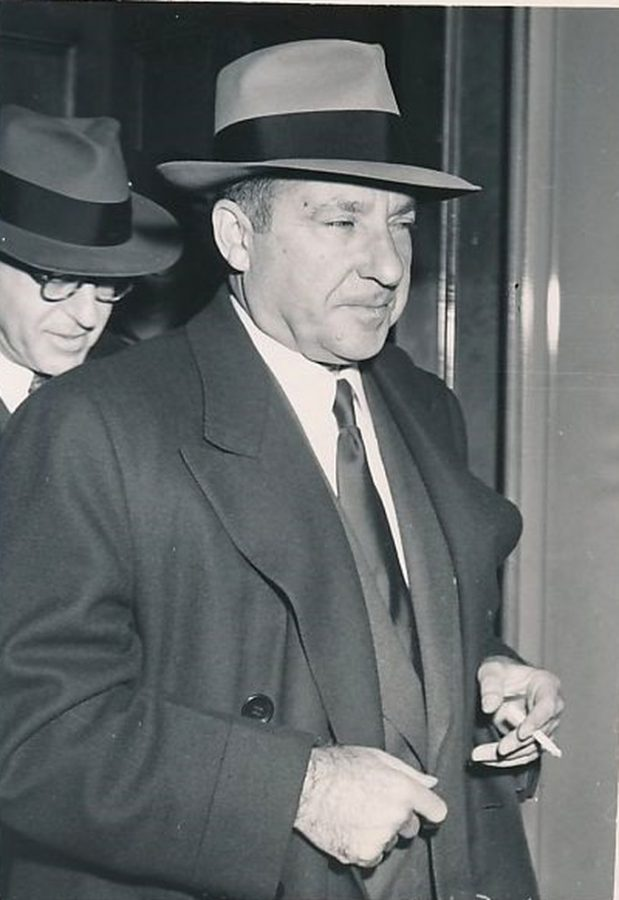 Mafia lord Frank Costello on his way to Senate Investigation on Organized crime 1951