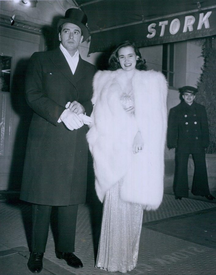 Gloria Vanderbilt and fiance outside Stork Club 1941