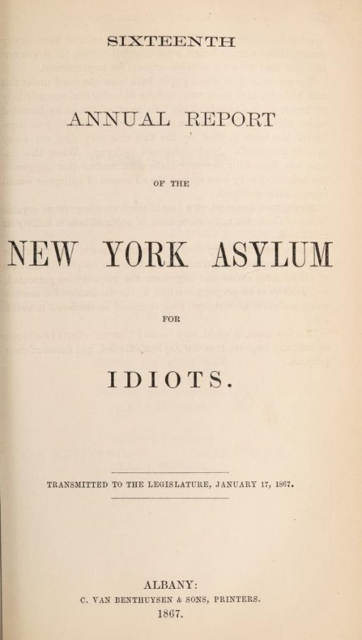 The New York Asylum for Idiots Report 1867 cover