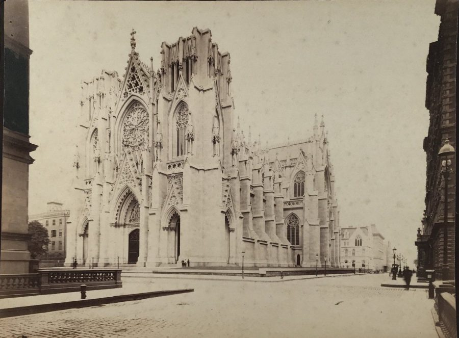 St Patrick's Cathedral Fifth Avenue 50th Street unfinished 1880 Buckingham Hotel and 626 Fifth Avenue