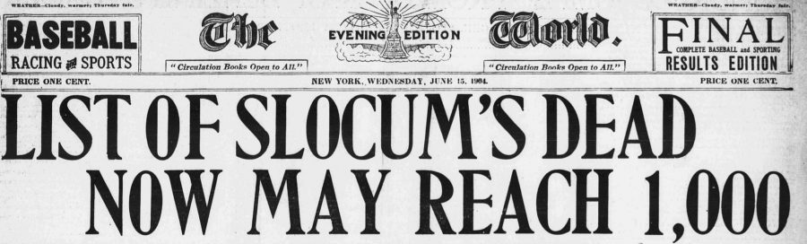 The New York Evening World General Slocum Cover June 15 1904 headline Over 1.000 Dead