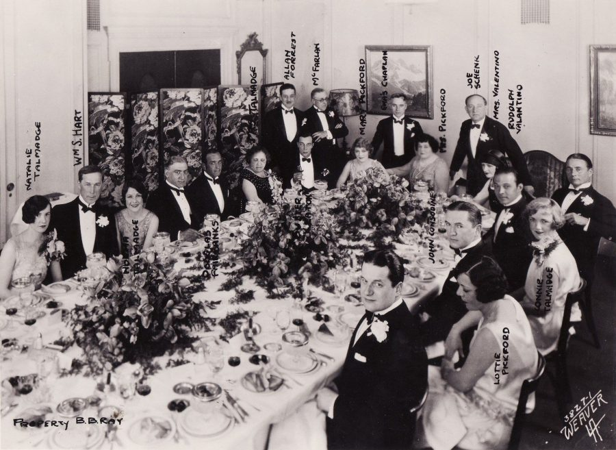 United Artists Party with Buster Keaton, Charlie Chaplin, Douglas Fairbanks, Mary Pickford, Constance Talmadge, Norma Talmadge, Joseph Schenk, Rudolph Valentino, Hiram Abrams at Biltmore Hotel Los Angeles April 8 ,1925