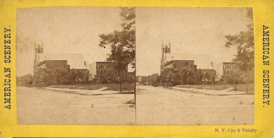 Broadway Tabernacle possibly in this unmarked stereoview which says NY City and Vicinity and nothing else.