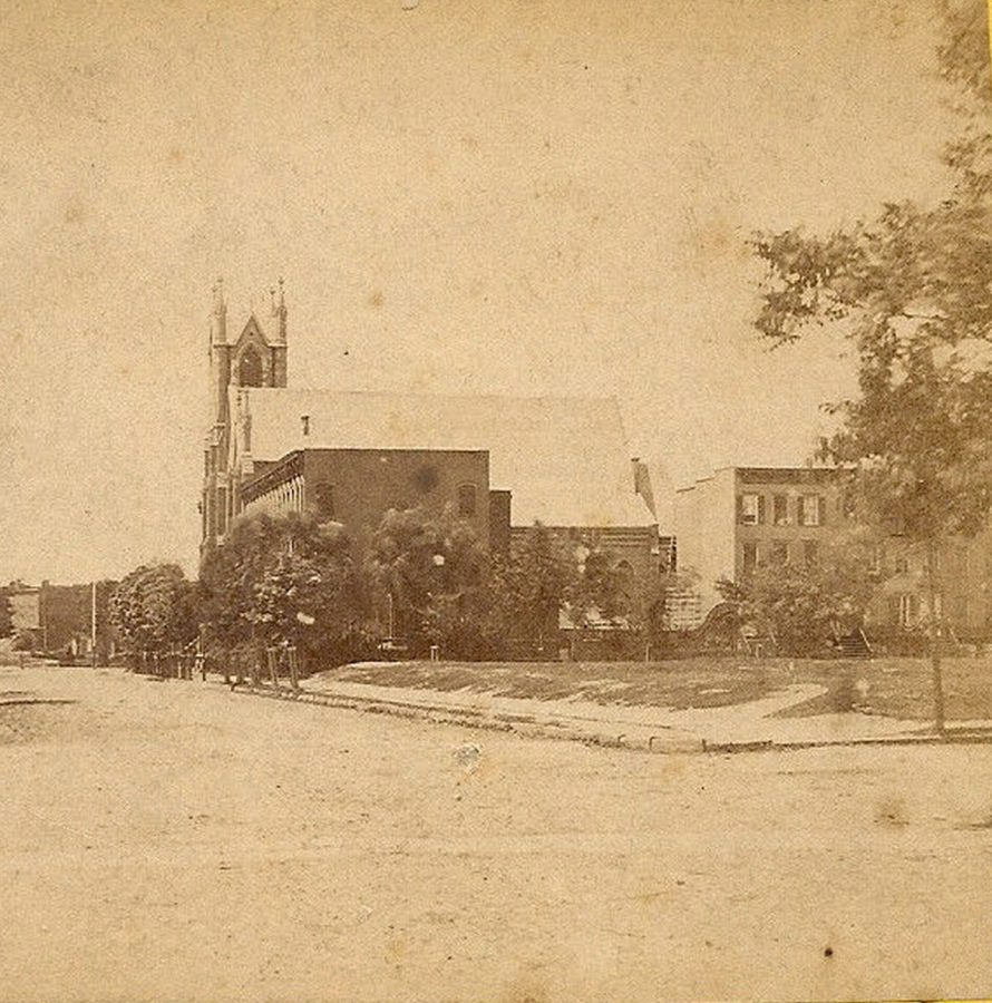 Street in New York City and Vicinity circa 1870s possibly 34th Street looking west Broadway Tabernacle