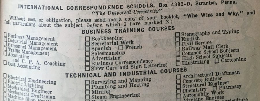 courses 1929 school by mail