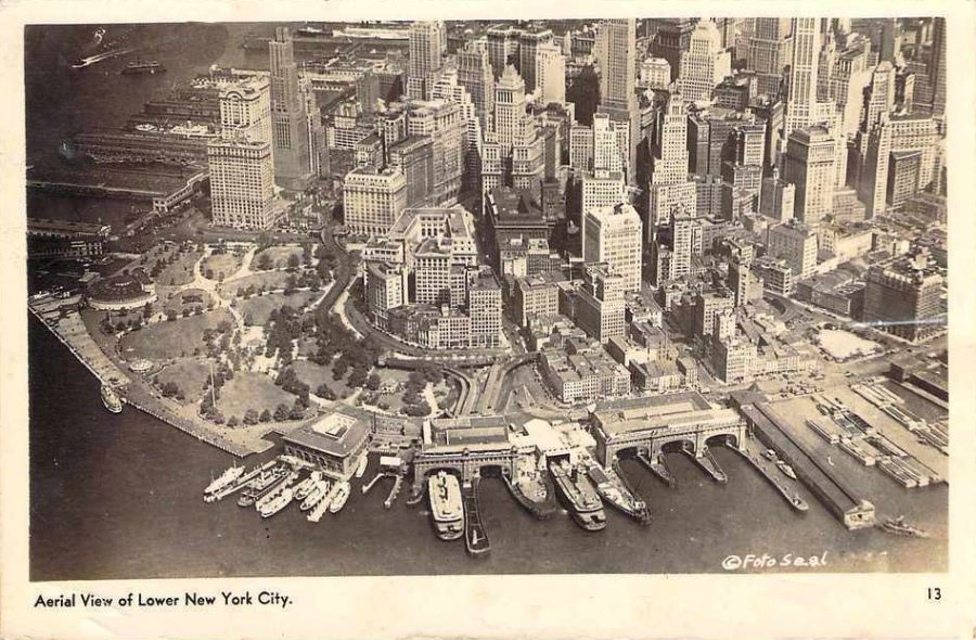 aerial lower manhattan east river 1930s aerial