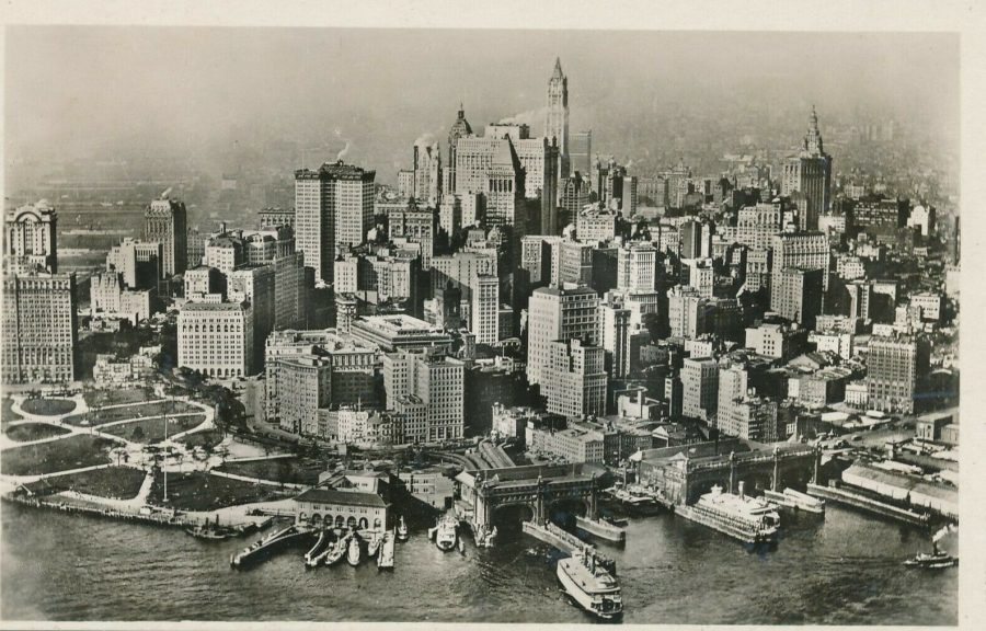 New York from the south aerial view 1930s