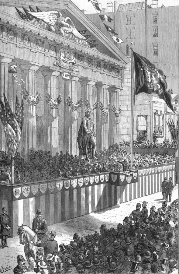 Presdient Benjamin Harrison at Sub Treasury for Washington Centennial drawn by H A Ogden