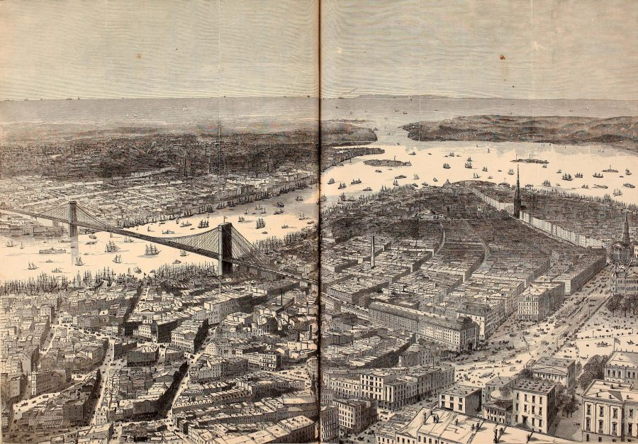 Lower Manhattan Harper's Weekly 1870 Brooklyn Bridge
