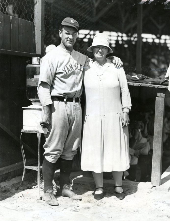 Lou Gehrig wit his mother at St. Petersburg Florida on March 22, 1930 at Yankees spring training