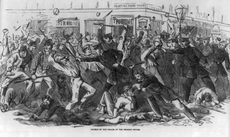 NYC draft riots Tribune Building 1863