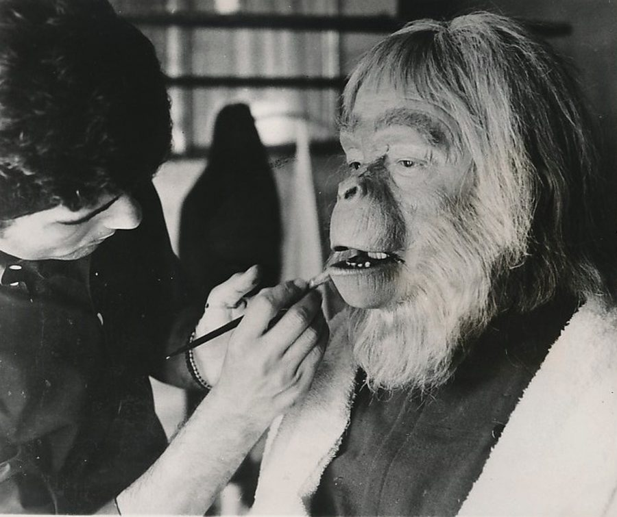 Maurice Evans getting finishing make-up touches for Planet of the Apes photo Keystone