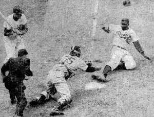 NY Herald Tribune photo  Robinson steal of home May 18 1952
