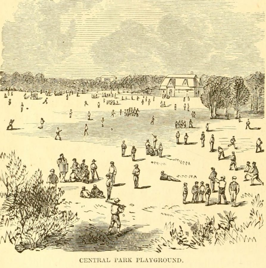 Children's playground Central Park 1870 playing baseball