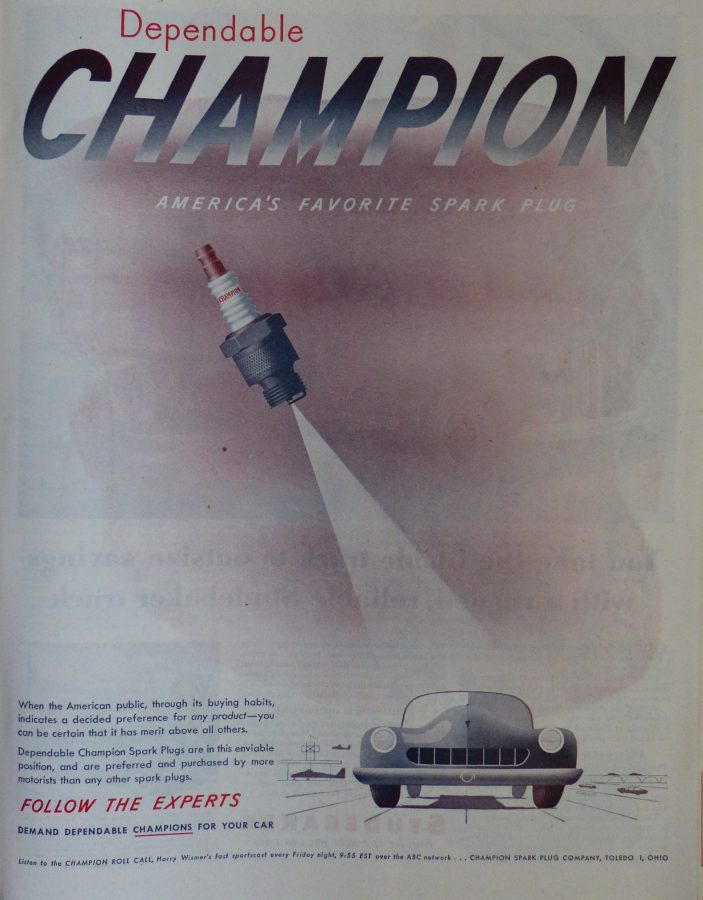 Champion spark plugs Saturday Evening Post 1947