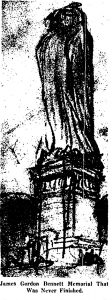 Bennett Monument drawing sculptor Andrew O'Connor viaNY Times 1918