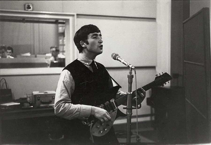 John Lennon in studio c 1964 photo London Features International
