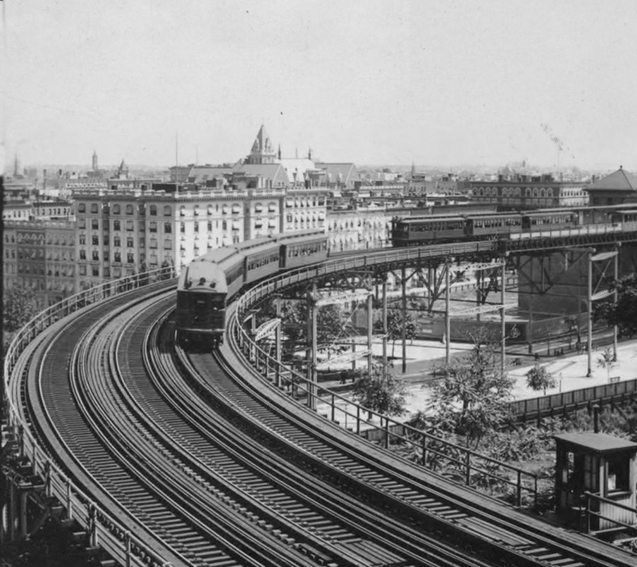Elevated train on curve at 110th Street New York City photo: Keystone-Mast Collection, UCR/California Museum of Photography, University of California, Riverside
