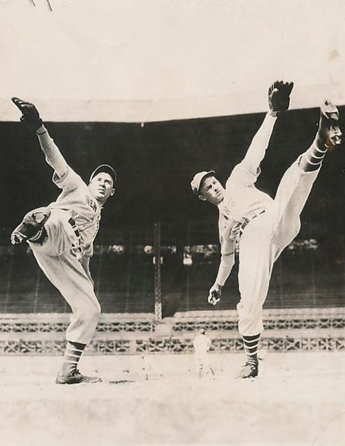 Giants star pitcher Carl Hubbell with brother John Hubbell at spring training 1937 photo International News