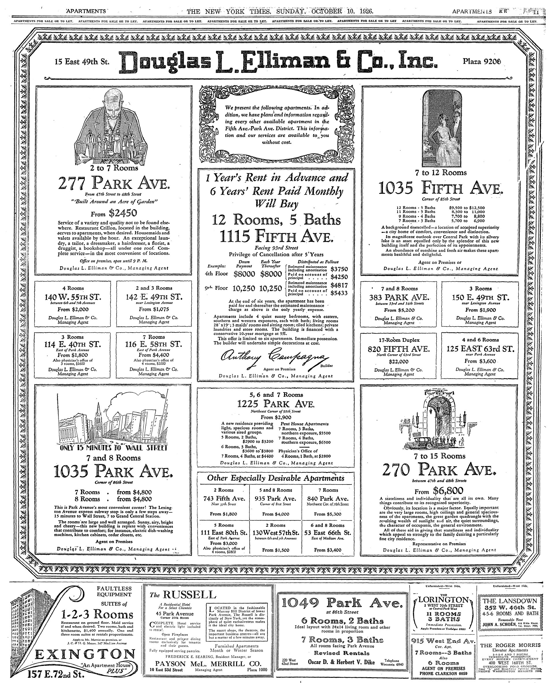 The Cost of Living in Manhattan Apartments – 1926