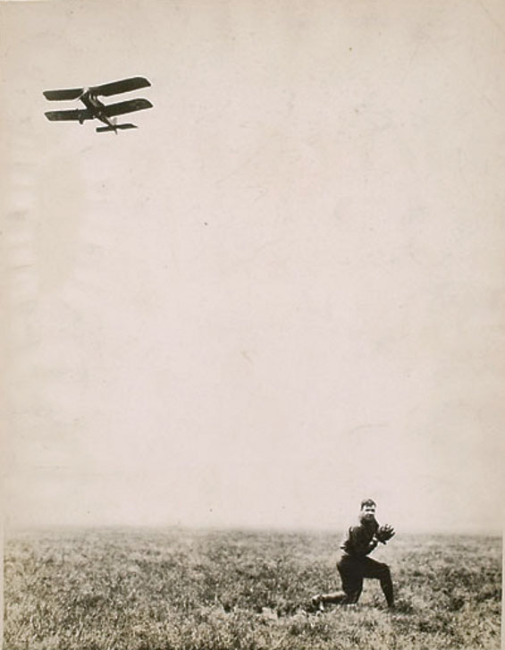 Babe Ruth Catches A Baseball From An Airplane