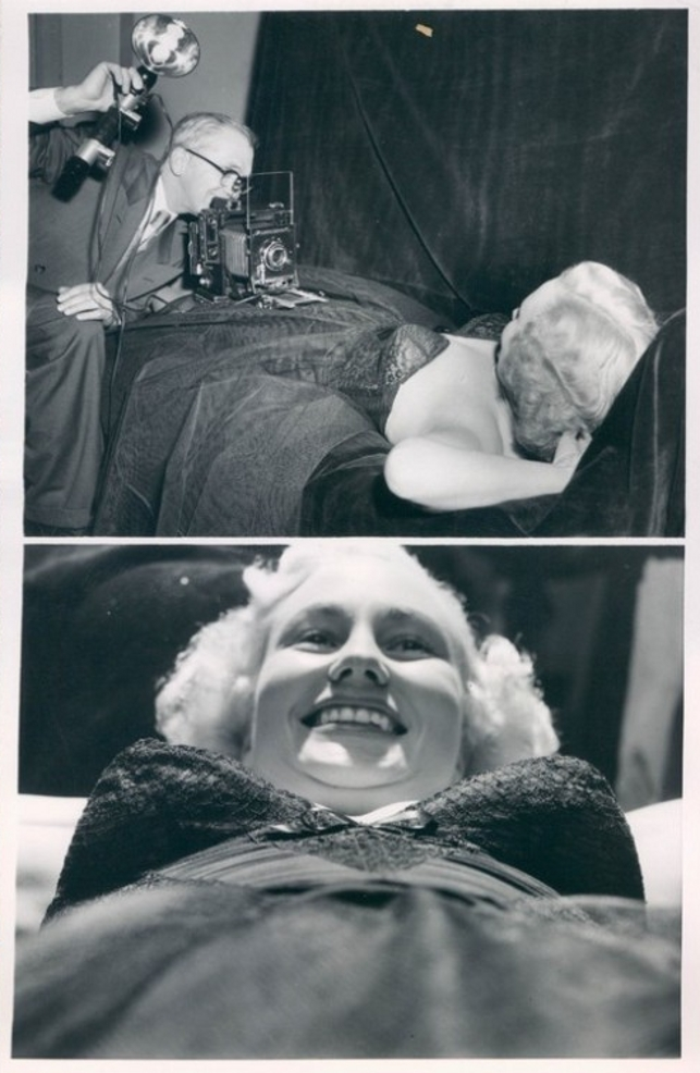 Miss Bra Queen Contest 1954 and Albert Einstein Sticking Out His Tongue By Arthur Sasse