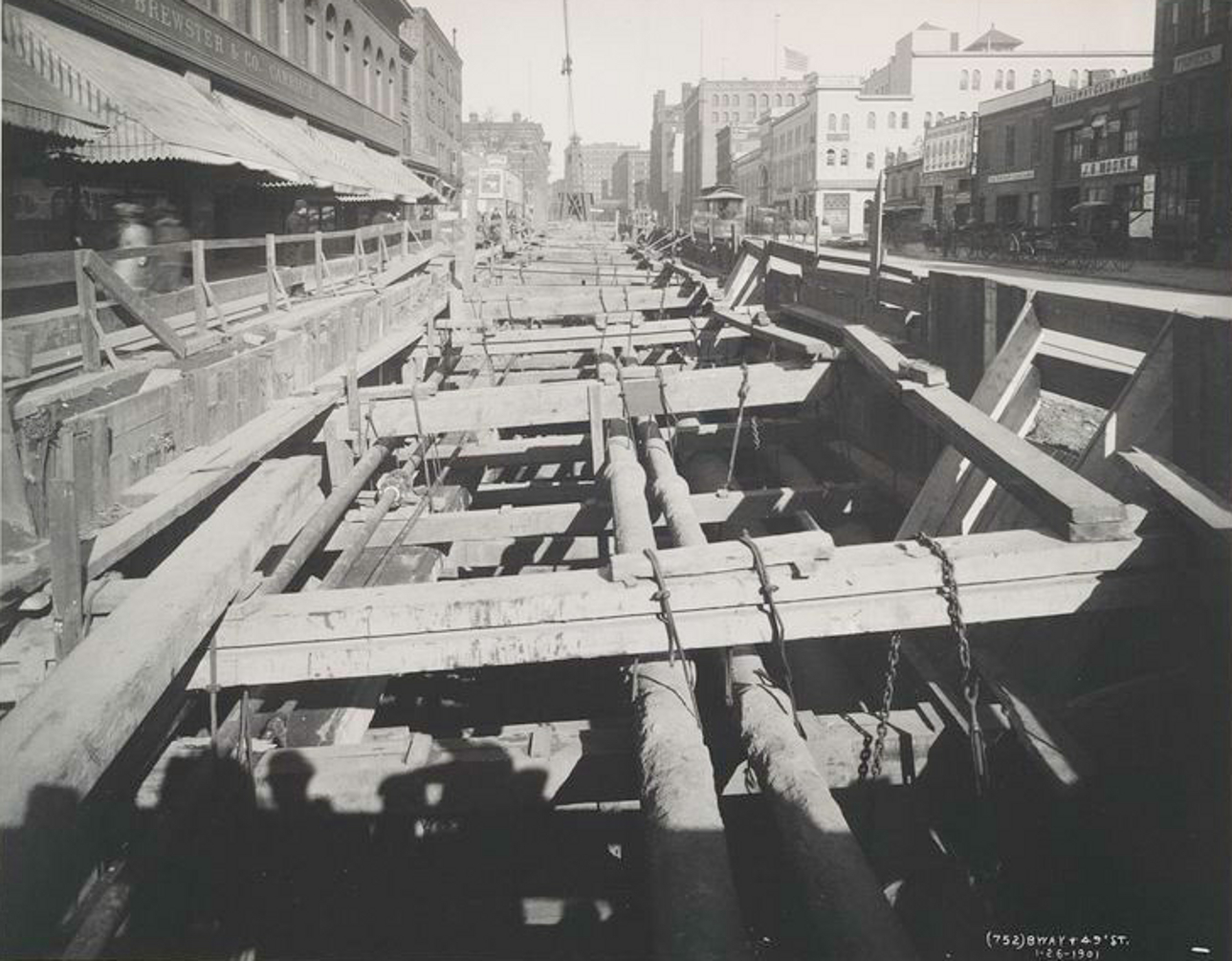 Old New York In Photos #23 - Subway Excavation Along Broadway & 49th St. 1901