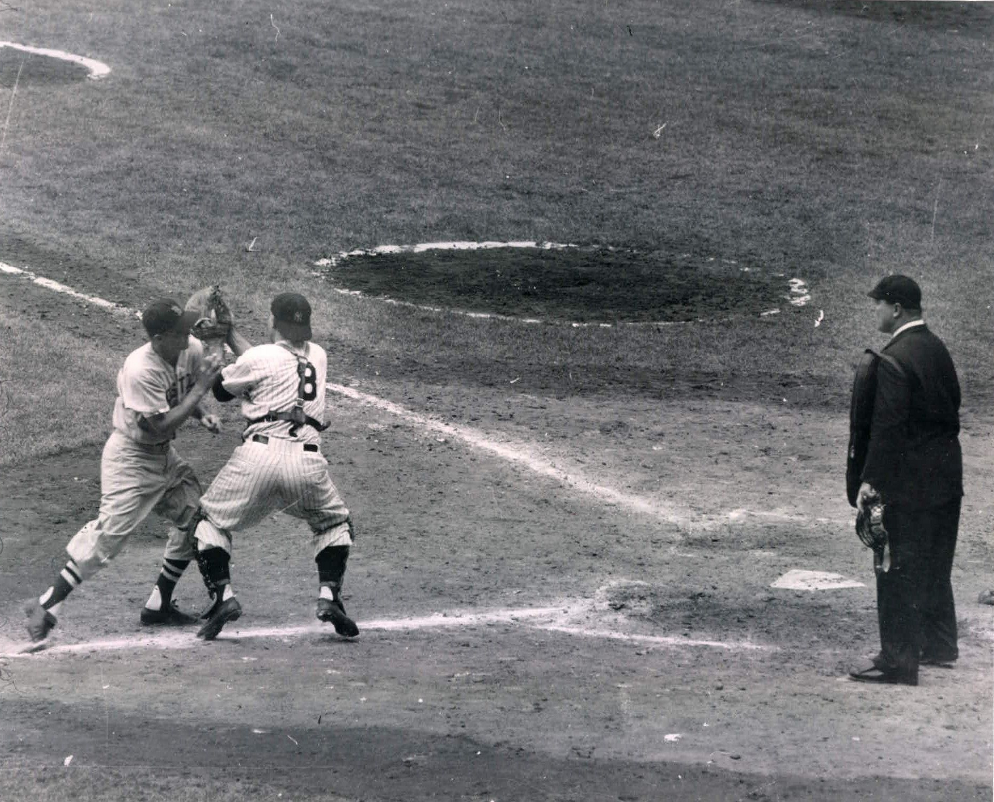 Collision At Home Plate - Red Sox Billy Klaus Crashes Into Yogi Berra 1955