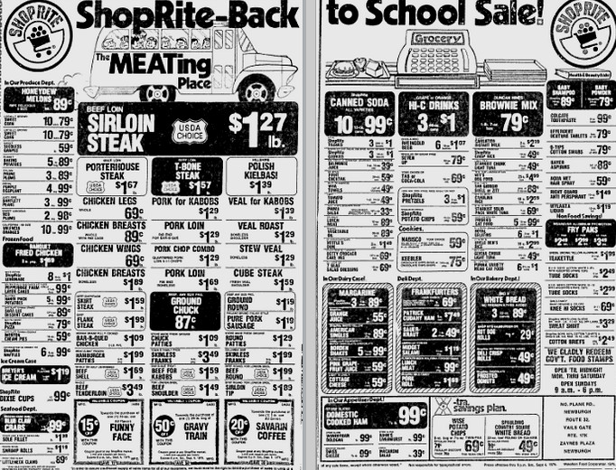 Supermarket Food Prices In 1976