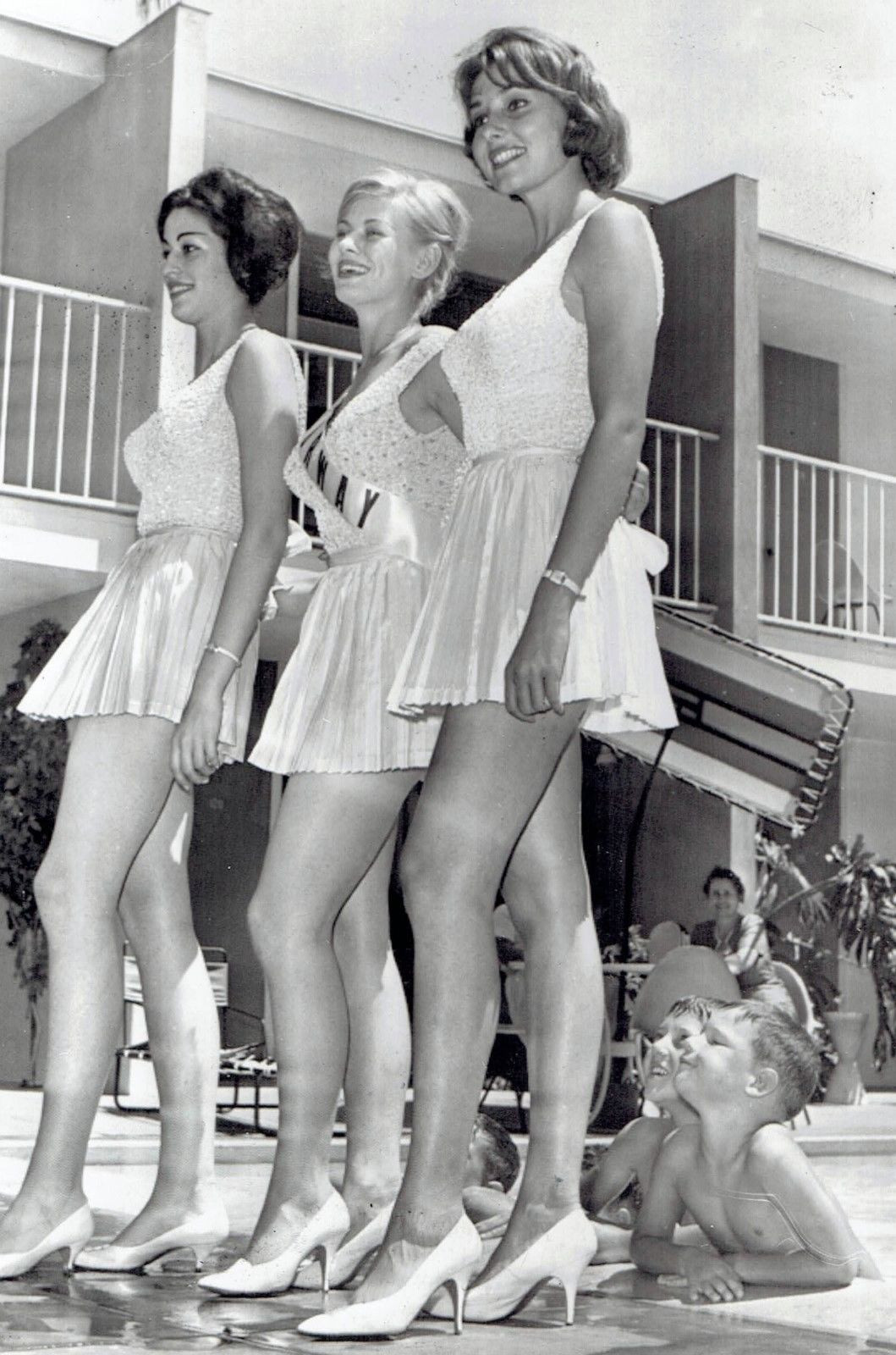 Three Boys And Three Beauty Pageant Contestants - 1960
